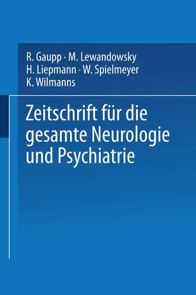 Zeitschrift für die gesamte Neurologie und Psychiatrie - Coverbild