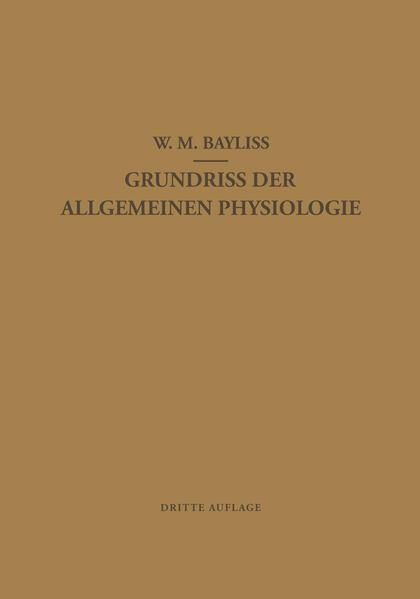 Grundriss der Allgemeinen Physiologie - Coverbild
