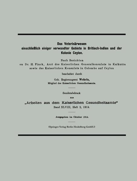 Das Veterinärwesen einschließlich einiger verwandter Gebiete in Britisch-Indien und der Kolonie Ceylon - Coverbild