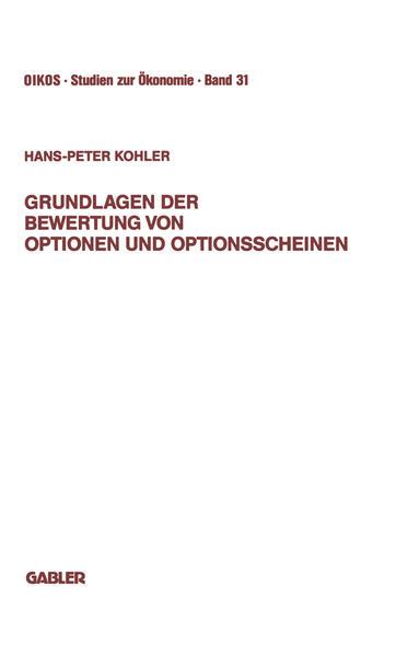 Grundlagen der Bewertung von Optionen und Optionsscheinen - Coverbild