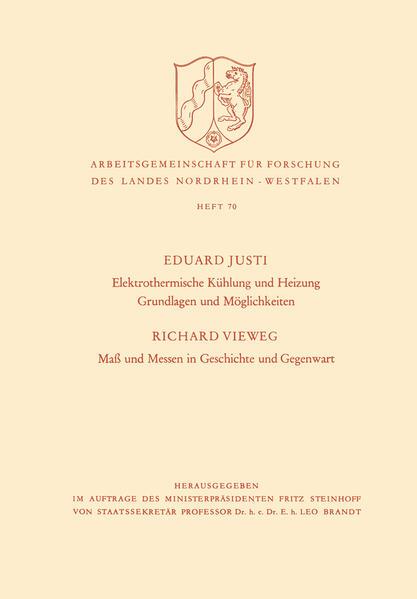 Elektrothermische Kühlung und Heizung Grundlagen und Möglichkeiten. Maß und Messen in Geschichte und Gegenwart - Coverbild