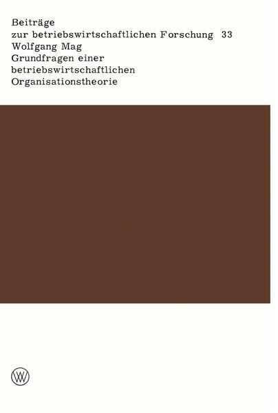 Grundfragen einer betriebswirtschaftlichen Organisationstheorie - Coverbild