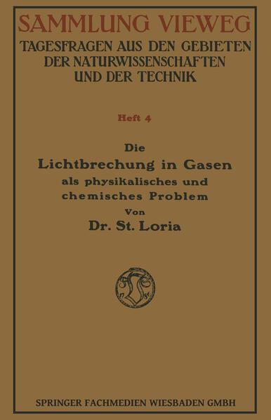 Die Lichtbrechung in Gasen als Physikalisches und Chemisches Problem - Coverbild