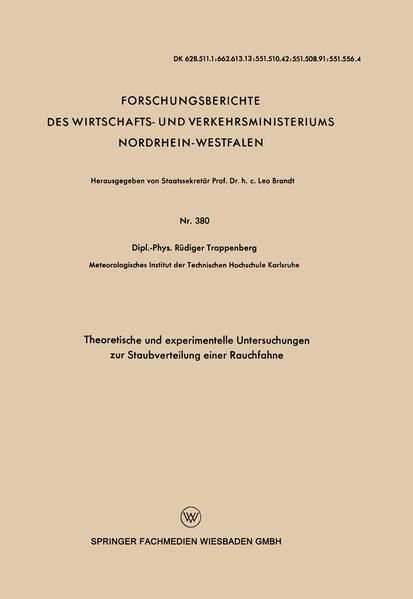 Theoretische und experimentelle Untersuchungen zur Staubverteilung einer Rauchfahne - Coverbild