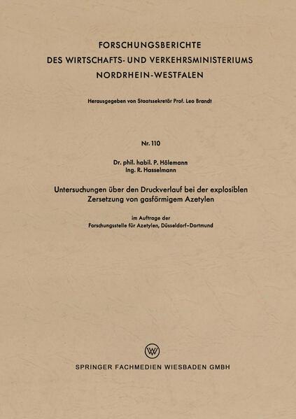 Untersuchungen über den Druckverlauf bei der explosiblen Zersetzung von gasförmigem Azetylen - Coverbild
