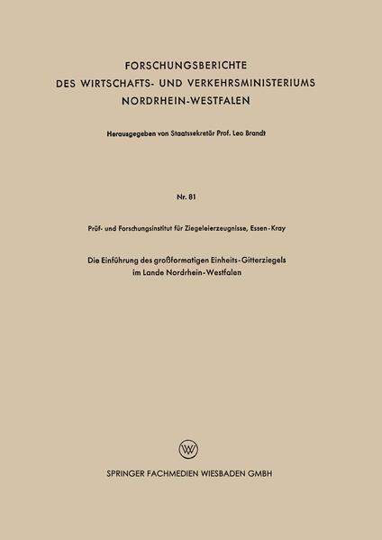 Die Einführung des großformatigen Einheits-Gitterziegels im Lande Nordrhein-Westfalen - Coverbild