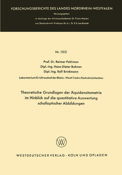 Theoretische Grundlagen der Äquidensitometrie im Hinblick auf die quantitative Auswertung schalloptischer Abbildungen - Coverbild