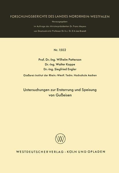 Untersuchungen zur Erstarrung und Speisung von Gußeisen - Coverbild