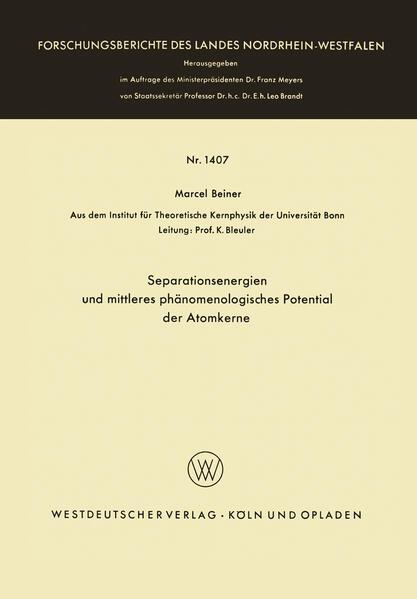 Separationsenergien und mittleres phänomenologisches Potential der Atomkerne - Coverbild