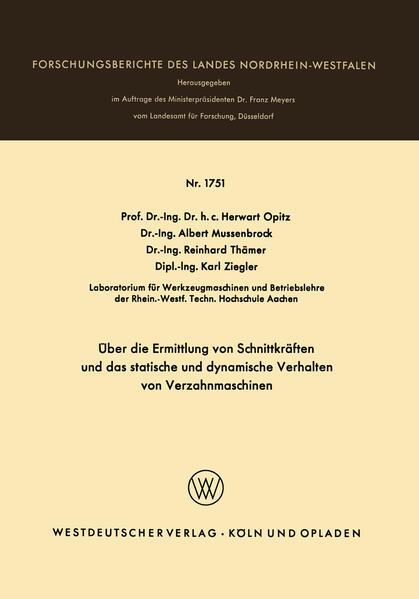 Über die Ermittlung von Schnittkräften und das statistische und dynamische Verhalten von Verzahnmaschinen - Coverbild
