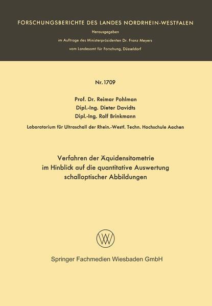 Verfahren der Äquidensitometrie im Hinblick auf die quantitative Auswertung schalloptischer Abbildungen - Coverbild