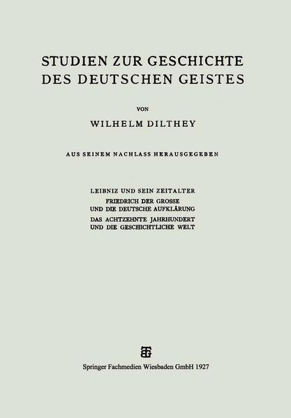 Studien zur Geschichte des Deutschen Geistes - Coverbild