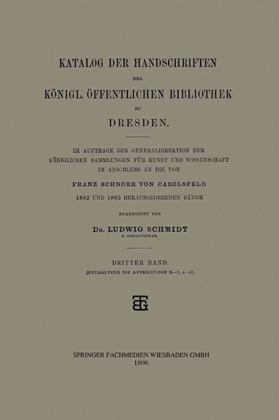 Katalog der Handschriften der Königl. Öffentlichen Bibliothek zu Dresden - Coverbild
