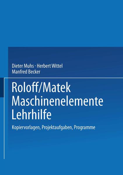 Roloff/Matek Maschinenelemente Lehrhilfe - Coverbild