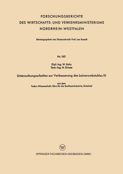 Untersuchungsarbeiten zur Verbesserung des Leinenwebstuhles III - Coverbild
