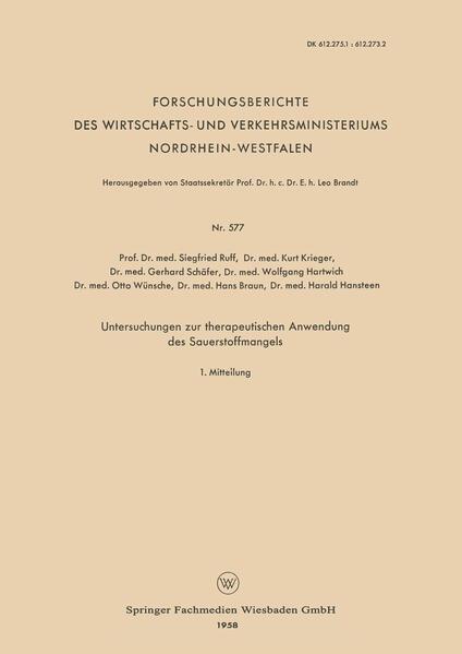 Untersuchungen zur therapeutischen Anwendung des Sauerstoffmangels - Coverbild