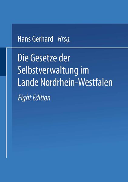 Die Gesetze der Selbstverwaltung im Lande Nordrhein-Westfalen - Coverbild