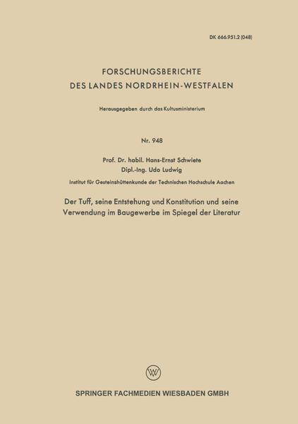 Der Tuff, seine Entstehung und Konstitution und seine Verwendung im Baugewerbe im Spiegel der Literatur - Coverbild