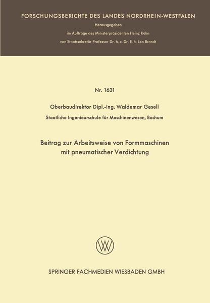 Beitrag zur Arbeitsweise von Formmaschinen mit pneumatischer Verdichtung - Coverbild