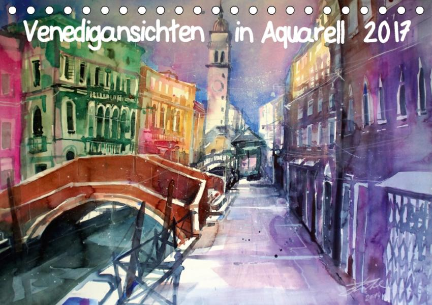 Venedigansichten in AquarellAT-Version  (Tischkalender 2017 DIN A5 quer) - Coverbild