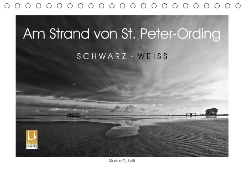 Am Strand von St. Peter-Ording SCHWARZ-WEISS (Tischkalender 2017 DIN A5 quer) - Coverbild
