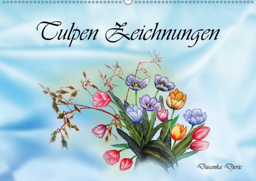 Tulpen Zeichnungen (Wandkalender 2017 DIN A2 quer) - Coverbild
