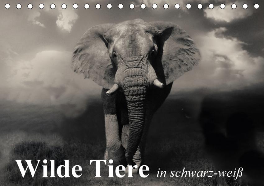 Wilde Tiere in schwarz-weiß (Tischkalender 2017 DIN A5 quer) - Coverbild