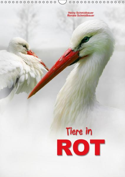 Tiere in ROT (Wandkalender 2017 DIN A3 hoch) - Coverbild