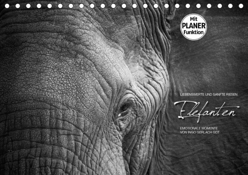 Emotionale Momente: Elefanten in black and white (Tischkalender 2017 DIN A5 quer) - Coverbild