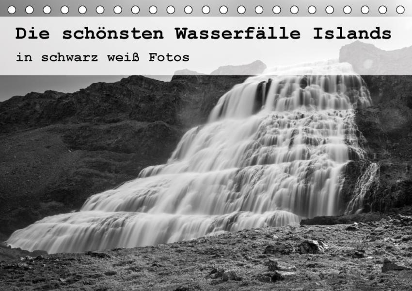 Die schönsten Wasserfälle Islands in schwarz weiß Fotos (Tischkalender 2017 DIN A5 quer) - Coverbild