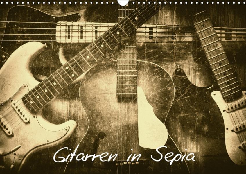 Gitarren in Sepia (Wandkalender 2017 DIN A3 quer) - Coverbild