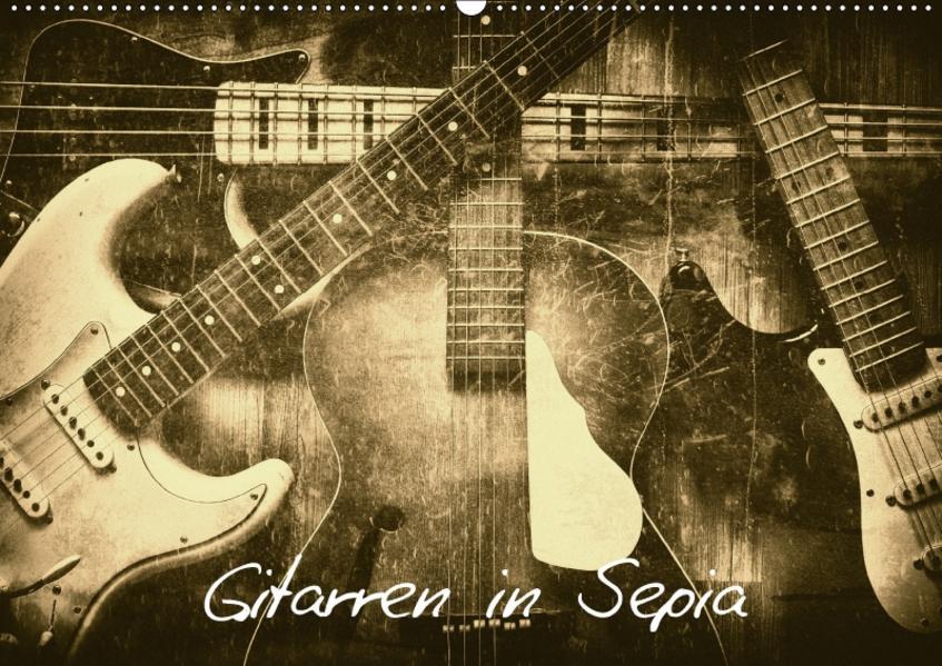 Gitarren in Sepia (Wandkalender 2017 DIN A2 quer) - Coverbild