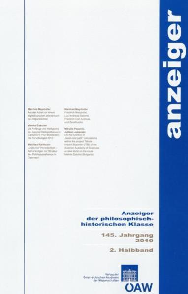 Anzeiger der philosophisch-historischen Klasse 145. Jahrgang 2010 2. Halbband - Coverbild