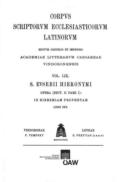 CSEL 59 - Hieronymus. In Hieremiam prophetam - ed. S. Reiter - Coverbild