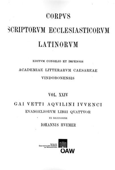 CSEL 24 - REPRINT Iuvencus Evangeliorum libri - Coverbild