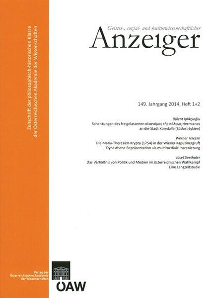 Geistes-, sozial-und kulturwissenschaftlicher Anzeiger 149. Jahrgang, Heft 1+2 2014 - Coverbild