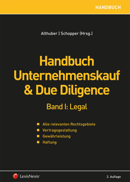 Handbuch Unternehmenskauf & Due Diligence, Band I: legal - Coverbild