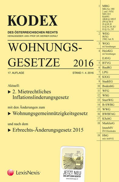 KODEX Wohnungsgesetze 2016 - Coverbild