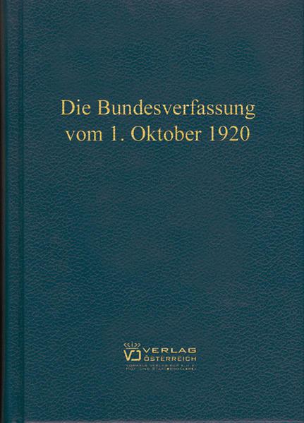 Die Bundesverfassung vom 1. Oktober 1920 - Coverbild