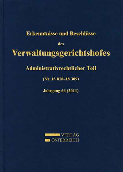 Erkenntnisse und Beschlüsse des Verwaltungsgerichtshofes - Coverbild