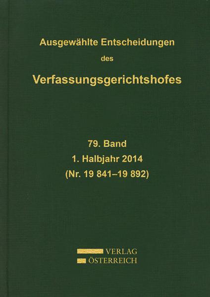 Ausgewählte Entscheidungen des Verfassungsgerichtshofes - Coverbild