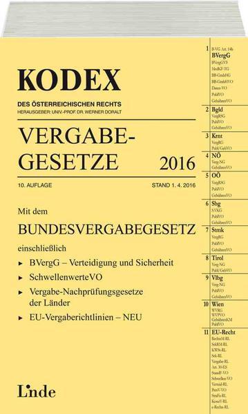 KODEX Vergabegesetze 2016 - Coverbild
