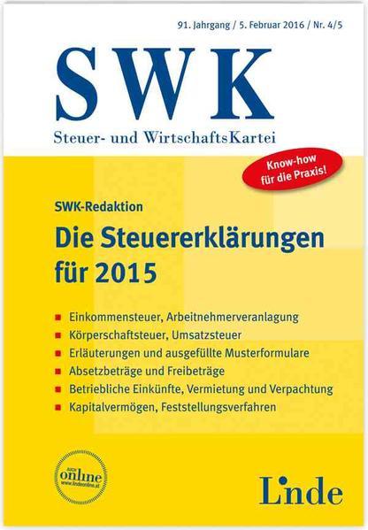 Die Steuererklärungen für 2015 - Coverbild