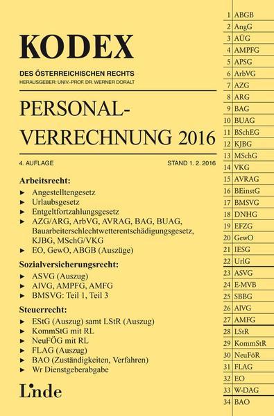 KODEX Personalverrechnung 2016 - Coverbild