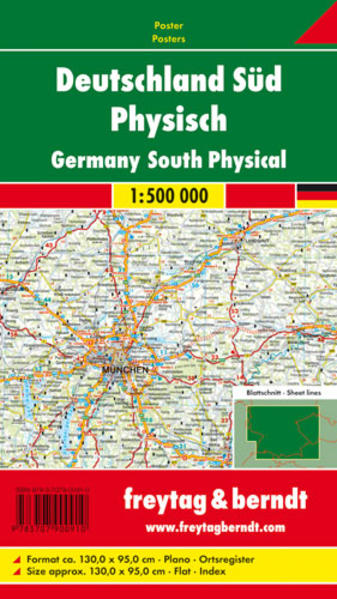 Deutschland Süd physisch, 1:500.000, Poster - Coverbild
