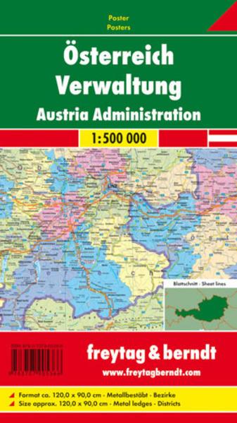 Österreich Verwaltung, 1:500.000, Poster metallbestäbt - Coverbild