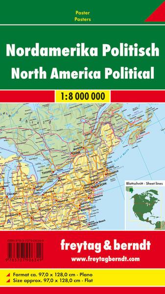 Nordamerika physisch-politisch, Magnetmarkiertafel 1:8 Mill. - Coverbild