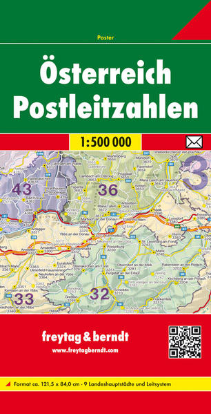 Österreich Postleitzahlen, gefaltet, Poster 1:500.000 - Coverbild