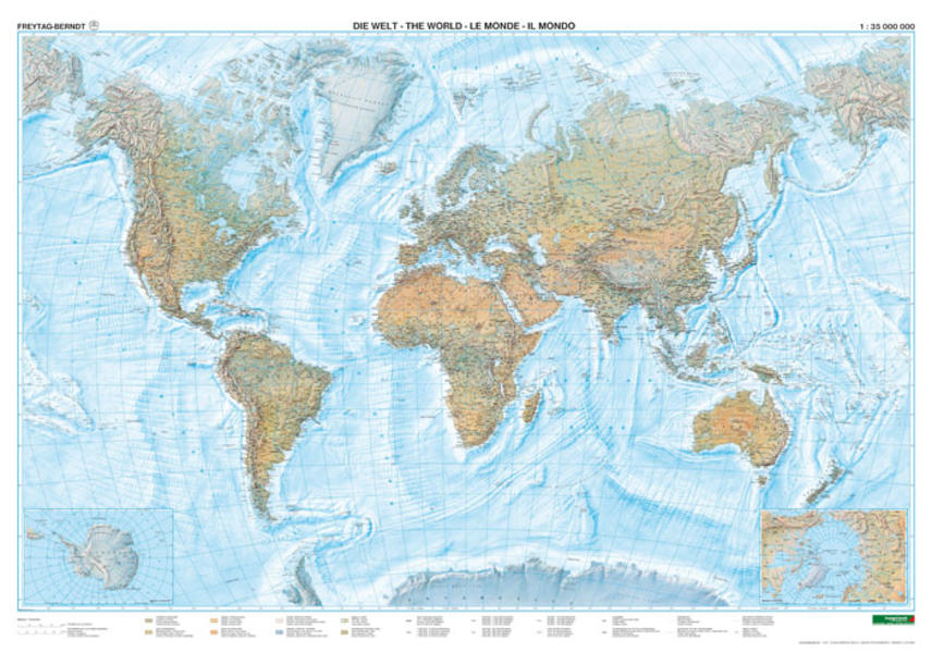Welt physisch Meeresrelief Großformat, 1:25 Mill., Markiertafel - Coverbild