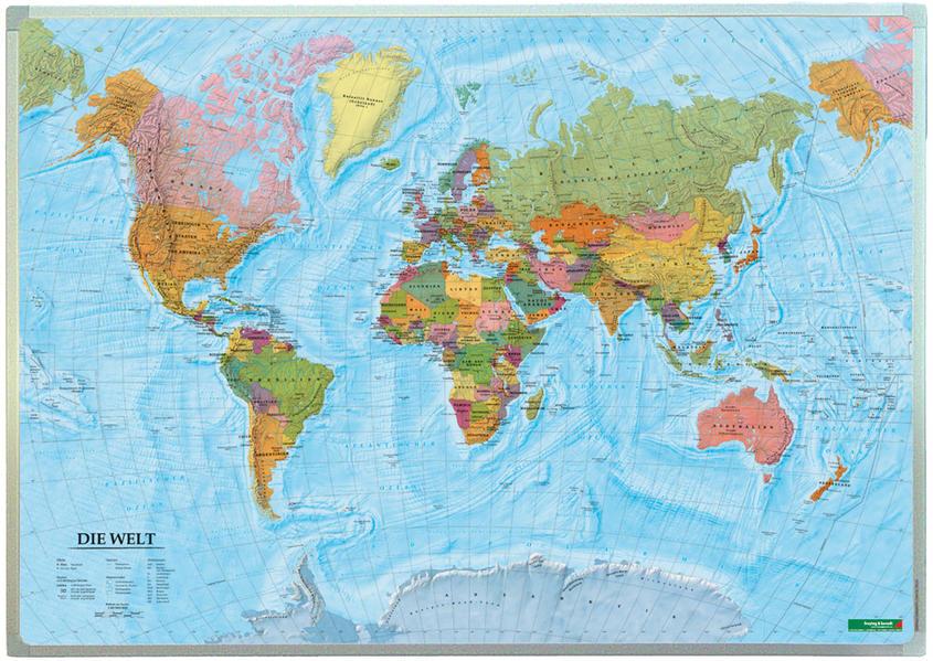 Wandkarte: Die Welt, deutsch, Magnetmarkiertafel 1:40.000.000 - Coverbild